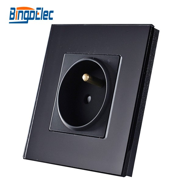 EU standard black l toughened glass French socket,wall power socket