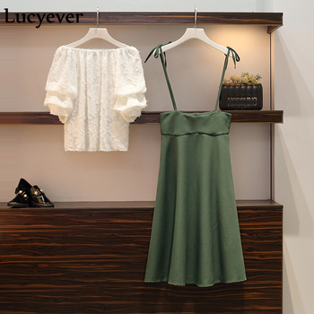Lucyever Chiffon two piece sets women fashion summer sexy tassel white T shirt+midi long skirt elegant party outfits plus size