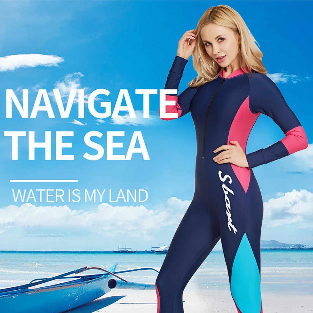 Womail kadın uzun kollu güneş koruyucu ince wetsuit mayo güneş koruyucu dalış dalgıç kıyafeti plaj sörf giyim