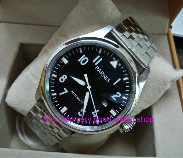 47 мм Big Pilot Парнис черный циферблат Самовзводные механизм автоматического Дата мужские часы световой механические часы df71a