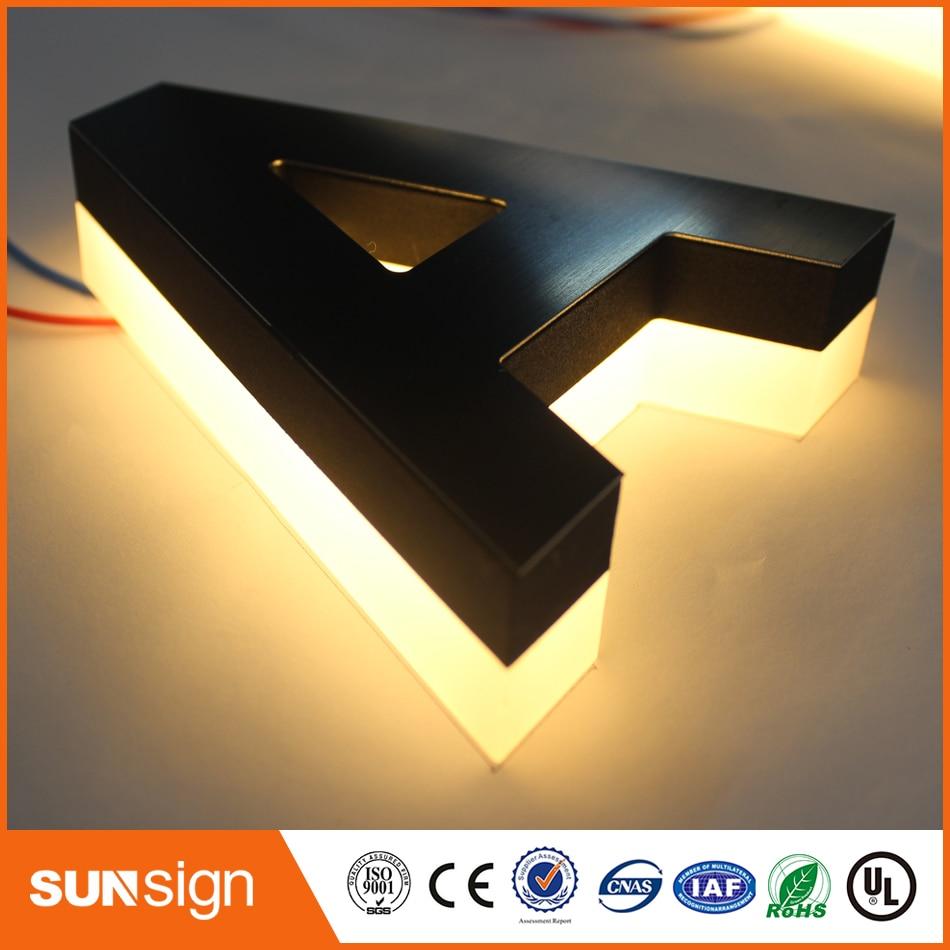 Stainless Steel Led Logo Backlit Led Channel Sign Lighted Metal Letters