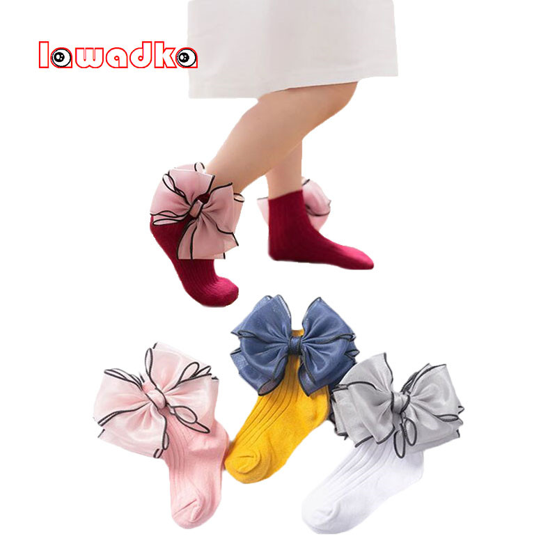 Newborn Baby Short Sock Winter Bow Girl Lace Socks Cotton Princess Socks For Girls Fashion Children Girl Clothes 1 2 3 4 5 6 7 8