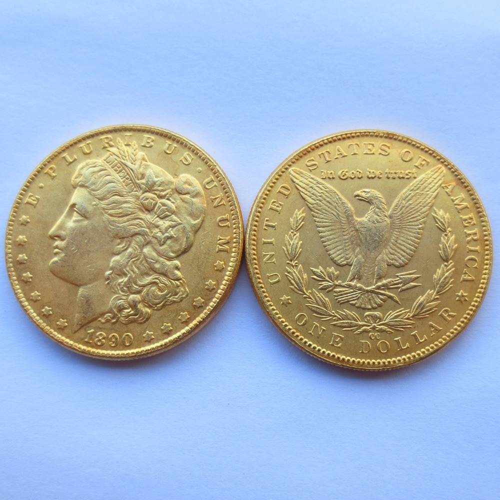 High Quality U.S. Morgan Dollars 1890-cc Gold-Plated Copy Coins Freeshipping