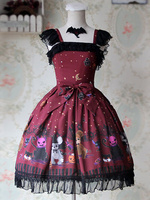 Infanta Branded Halloween Themed Pumpkin and Rabbit Printed Lolita Jumper Skirt/JSK