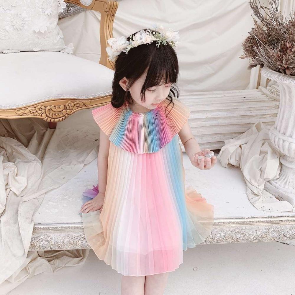 Filles arc-en-ciel robe 2019 doux d'été robes pour filles princesse robes en mousseline de soie tissu fée robe bébé fille vêtements
