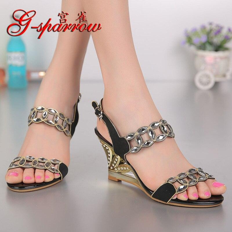 G SPARROW 2018 New Summer Ladies Fashion Sandals Wedge Heel Rhinestone Crystal Diamond Women's Black High Heeled Peep Toe Shoes