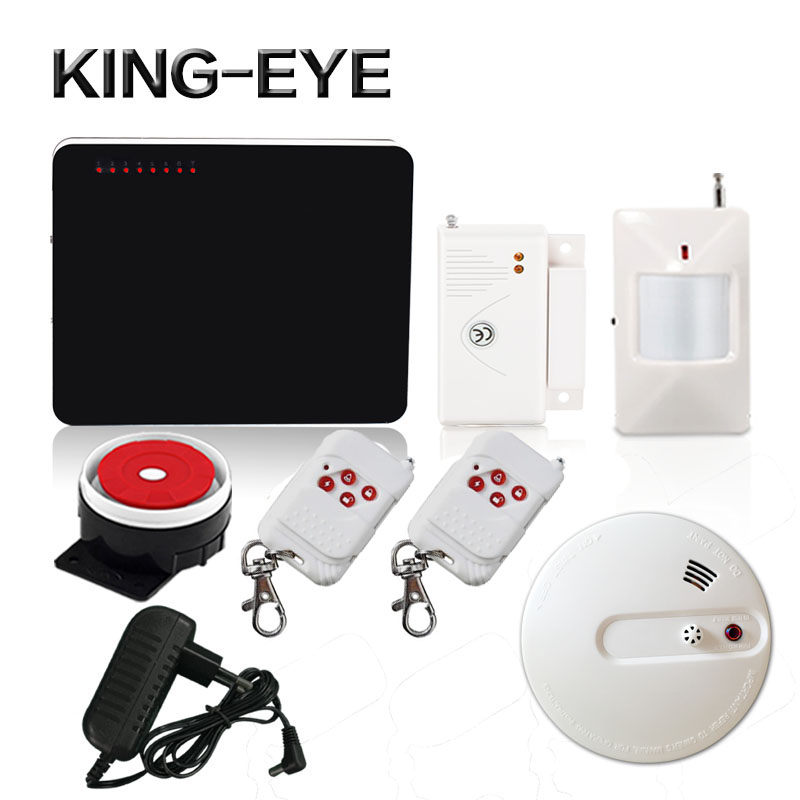 433mhz quad band wireless gsm alarm system home security wired siren infrared sensor smoke detector fire alarm
