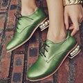 AIWEIYi Белый Зеленый Обувь Женщина Круглый носок Кружева до Платформы Oxfords Обувь Жемчуг Натуральная Кожа Квадратных Низкий Каблук Обуви
