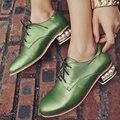 Aiweiyi blanco verde zapatos de mujer de punta redonda lace up plataforma oxfords zapatos perla cuadrada de cuero genuino zapatos de tacón bajo