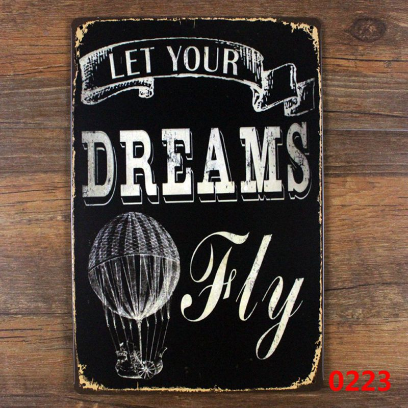 Aliexpress Retro Wall Hanging Let Your Dreams Fly Kids Metal Sign Art Decor For Children Room Vintage Decoration From Reliable Hotel Table