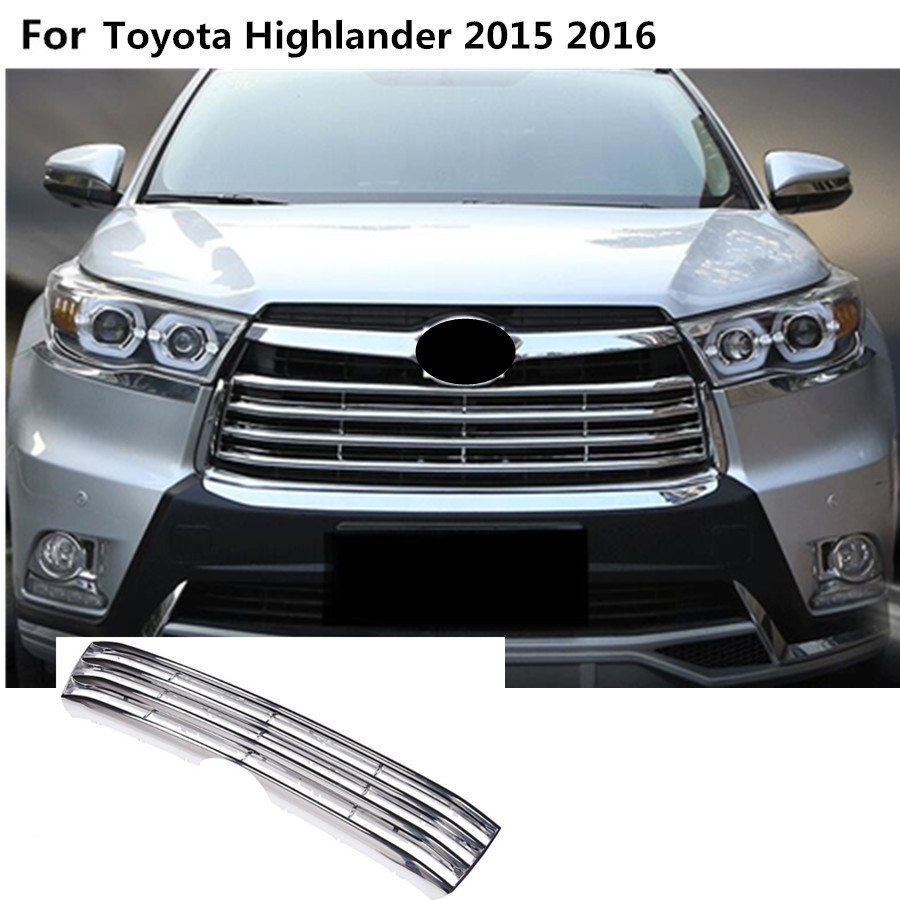 Car body cover detector ABS chrome trim Front up Grid Grill Grille Around hoods 1pcs For toyota Highlander 2015 2016 2017 for toyota corolla altis 2014 2015 2016 car body styling cover detector abs chrome trim front up grid grill grille hoods 1pcs