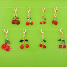 DIY metal enamel dangle 3D fruit cherry charms with lobster clasp pendants for bracelet/necklace/earring jewelry making ornament(China)