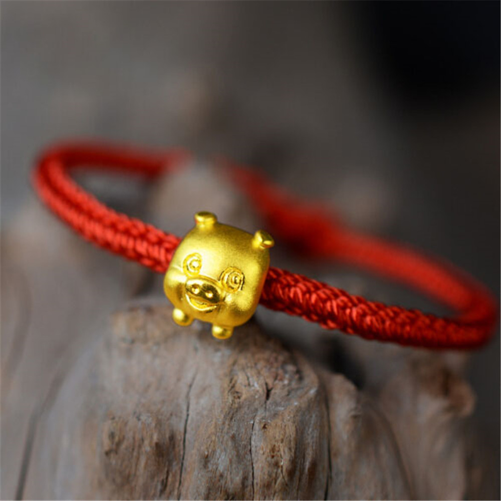 The Animal Year Lucky Red Rope 3D Gold 999 Gold Pig Charm Lady's Bracelet Hand Knitted Adjustable Rope Bracelets Birthday Gift