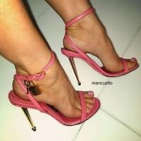 Encantador Preto Linha de Salto Stiletto Sandálias Vestido Concise Mulheres Estilo Sandálias Da Moda Decoração de Metal Sapatos de Fivela de Couro PU