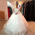 100% Real Photo New Arrival Ball Gown Wedding Dresses 2016 Long Sleeves Custom Princess Lace Illusion Wedding Dresses