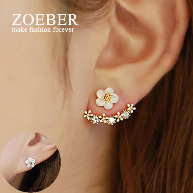 Zoeber ดอกไม้คริสตัลเรขาคณิต Stud ต่างหูสำหรับผู้หญิงสีด้านแฟชั่นเรขาคณิตต่างหูหญิงหู brincos ที่รอดำเนินการ