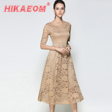 New summer womens Chiffon beige dress ladies rushed big swing short sleeve maxi lace sexy club long office dresses