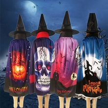 Halloween Ghost Pattern Cape Cloak Child Masquerade Performance Costume Dress Up