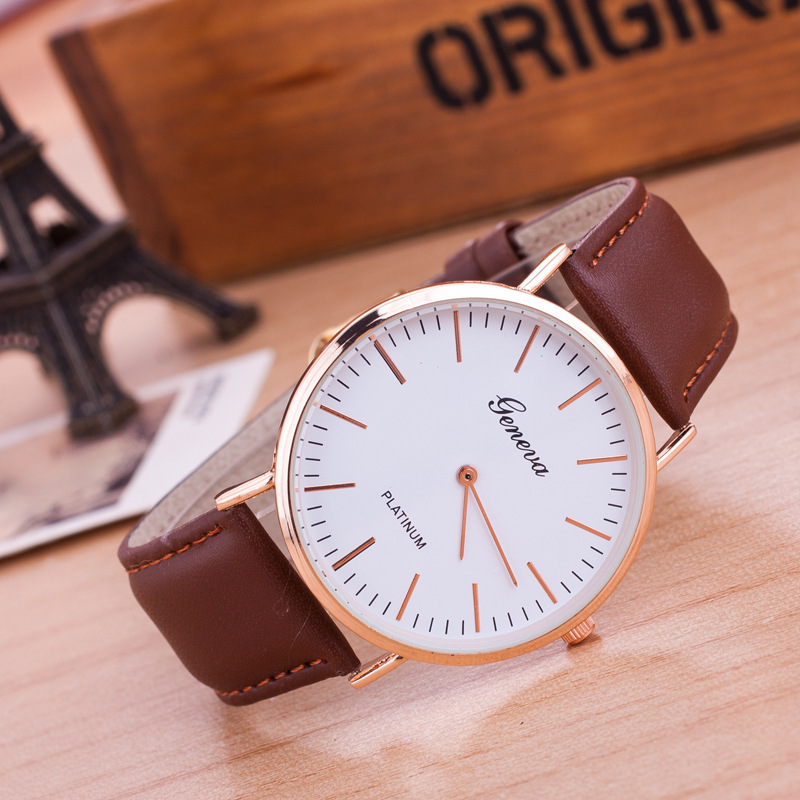 Simple Design Unisex Geneva Business Casual Watches Fashion Black Brown Leather  Silver Golden Dial Lady Dress Quartz-Watch