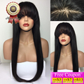 150 Density Silky Straight Full Lace Human Hair Wigs With Full Bangs Brazilian Virgin Lace Front Wig Natural Hairline For Women