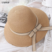 New fashion bow tie woman sun hats wide brim foldable  hand made straw hat casual woman kid summer shade beach hat anti uv cap