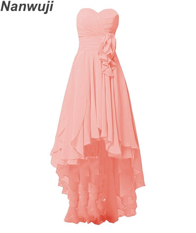 2018 Chiffon High Low Bridesmaid Dresses 2018 Pleats Beach Bridesmaid Dresses Under 50 A-line Scoop Floor Length Coral