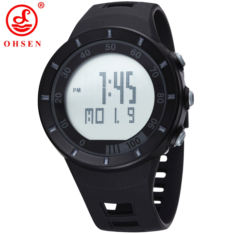 OHSEN Brand Men Digital Watch Led 2016 Unisex Style Sports Military Watches Calendar Function Alarm Relogio Masculino 2821