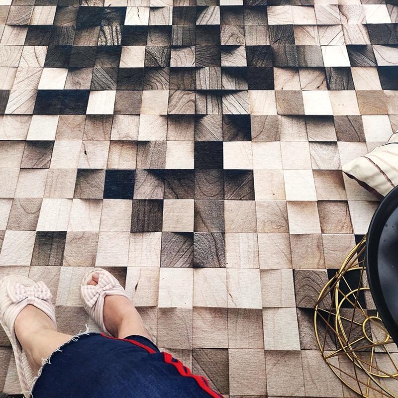 Ins nordique grain de bois géométrique dégradé salon tapis chambre chevet tapis étude tapis de sol antidérapant superfine fiber tapis - 2