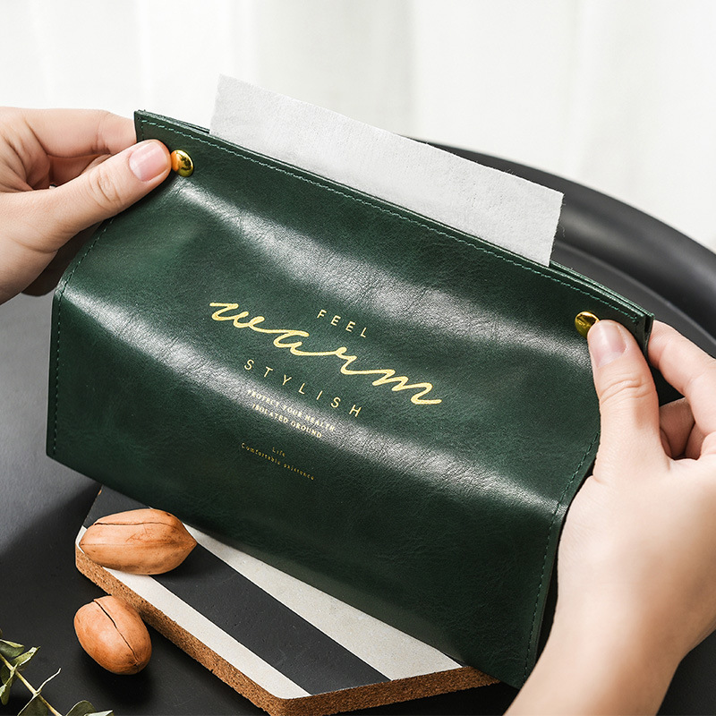 Container Towel Napkin Tissue Holder Ins Nordic Leather Tissue Box Paper Dispenser Tissue Holder Case for Office Home Decoration in Tissue Boxes from Home Garden
