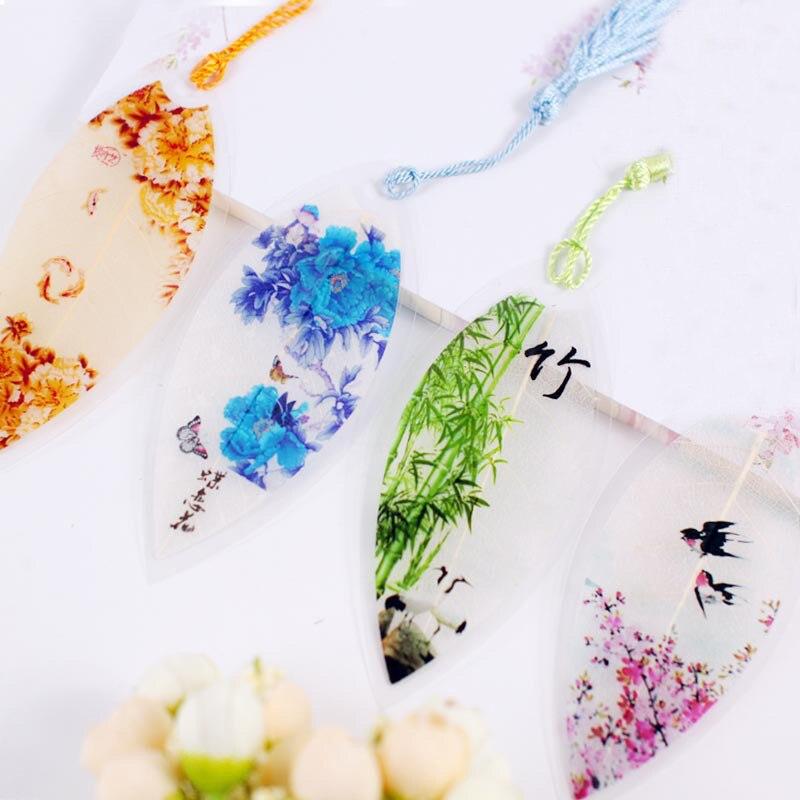 Student Schreibwaren 1 Pc Klassische Eleganz Niedlich Quaste Verlässt Vene Lesezeichen Kreative Natur Chinesischen Wind Lesezeichen Für Kinder Geschenk