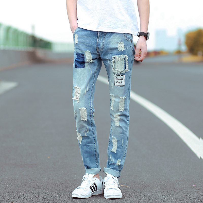 2016 Metrosexual Menu0026#39;s Trousers Korean Fashion Ripped Jeans Baggy Jeans Pants-in Jeans from Men ...