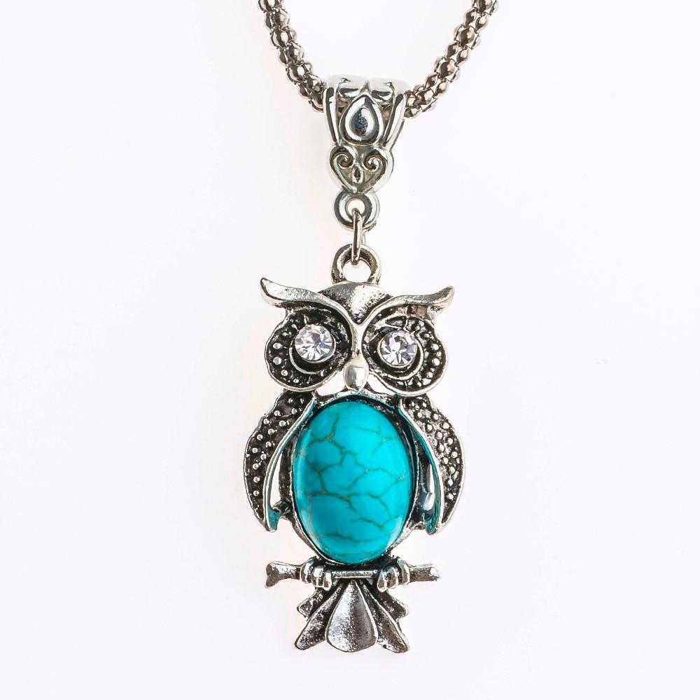 Shuangr Bohemia Cristal Ojos mujeres encanto colgante azul piedra natural  color plata joyería de moda collar de cadena f9970dd4ca