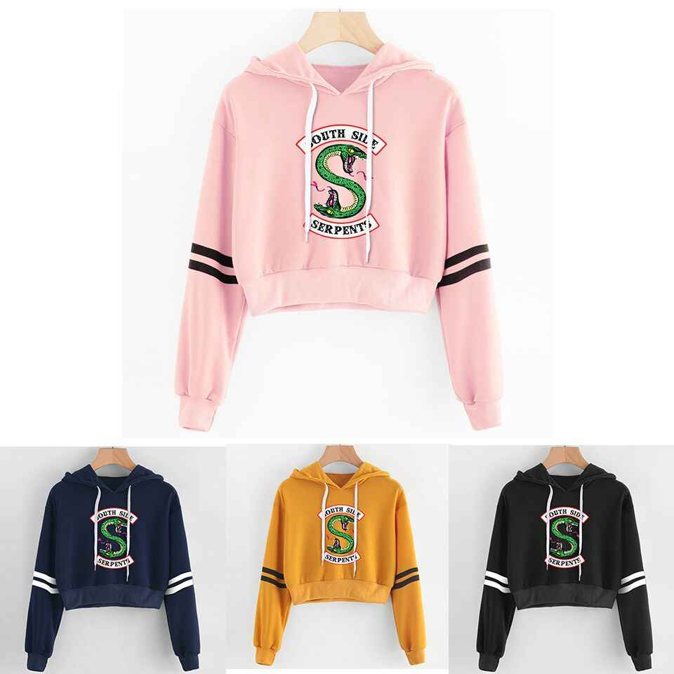 Women sexy crop top hoodies RIVERDALE Southside Serpent Print harajuku Spring hot sale casual hoodies sweatshirts plus size