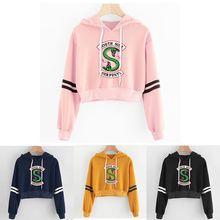 Women sexy crop top hoodies RIVERDALE Southside Serpent Print harajuku Spring ho