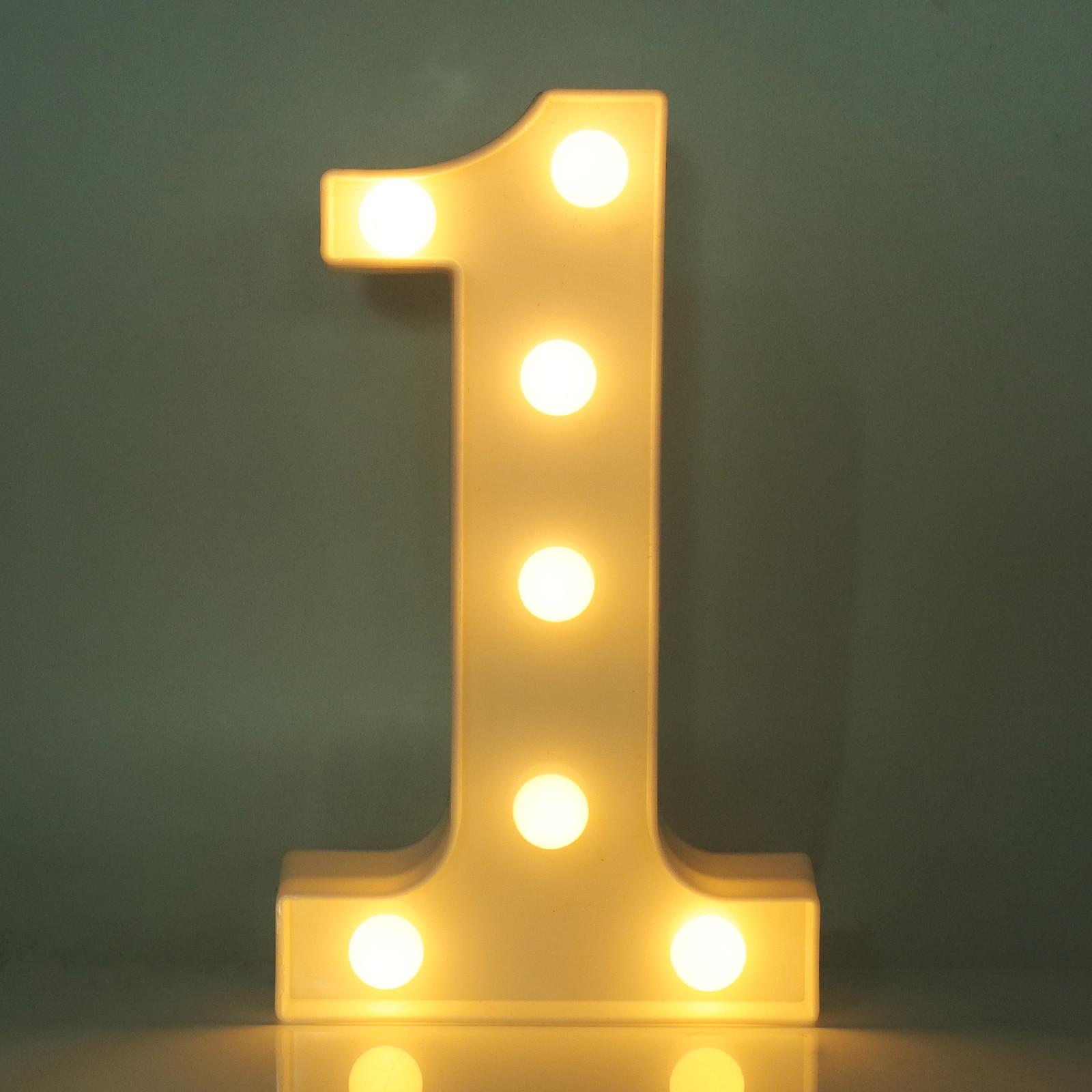 DIY Decoration White Plastic Number Battery Led Light
