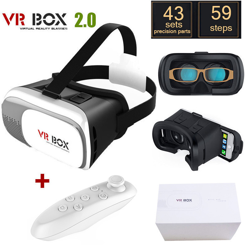 "<font><b>Head</b></font> <font><b>Mount</b></font> Plastic <font><b>VR</b></font> <font><b>BOX</b></font> 2.0 Version Virtual Reality <font><b>Glasses</b></font> <font><b>Google</b></font> <font><b>Cardboard</b></font> for 3.5"" - 6.0"" Smart Phone and + Remoter gamepad"