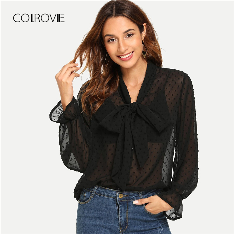 COLROVIE Black Elegant Sheer Tie Neck Polka Dot   Blouse     Shirt   Women 2018 Autumn Long Sleeve   Blouse   Sexy Women Tops And   Blouses