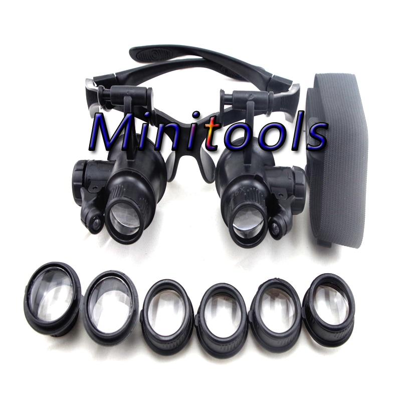 Livraison gratuite LED bandeau loupe lunettes type Loupe Binoculaire 10x 15x 20x 25x POUR Montre PCB Réparation travailler