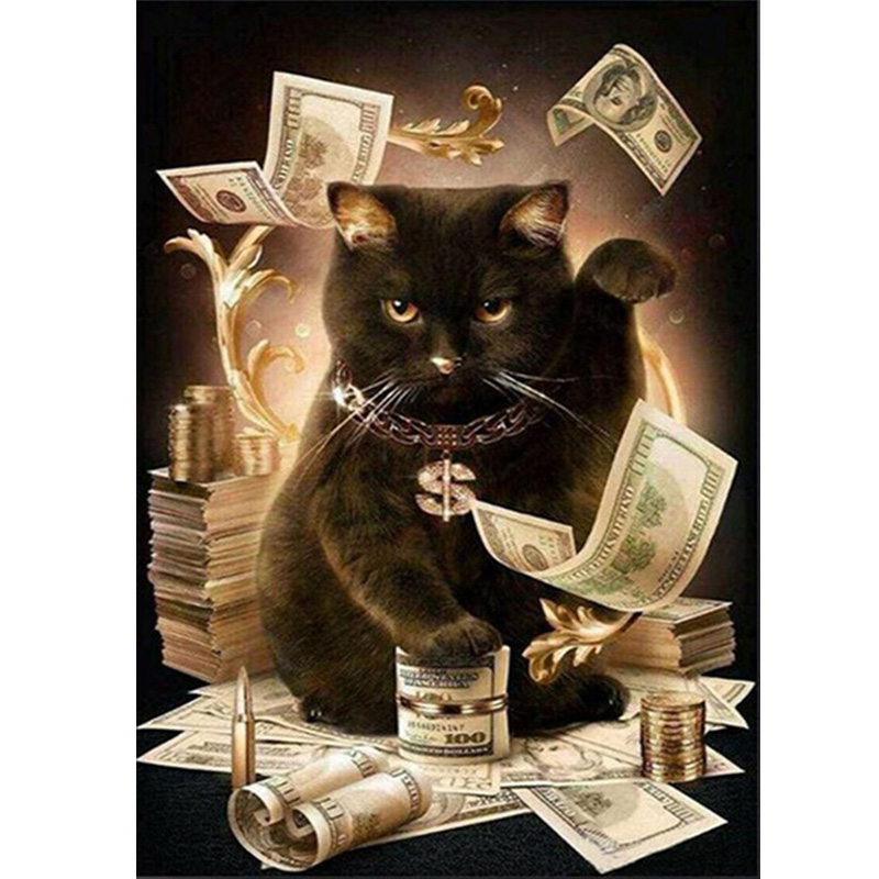 Diamond Embroidery Cat With Cash Pattern DIY 5D Diamond Painting Needlework Cross Stitch ...