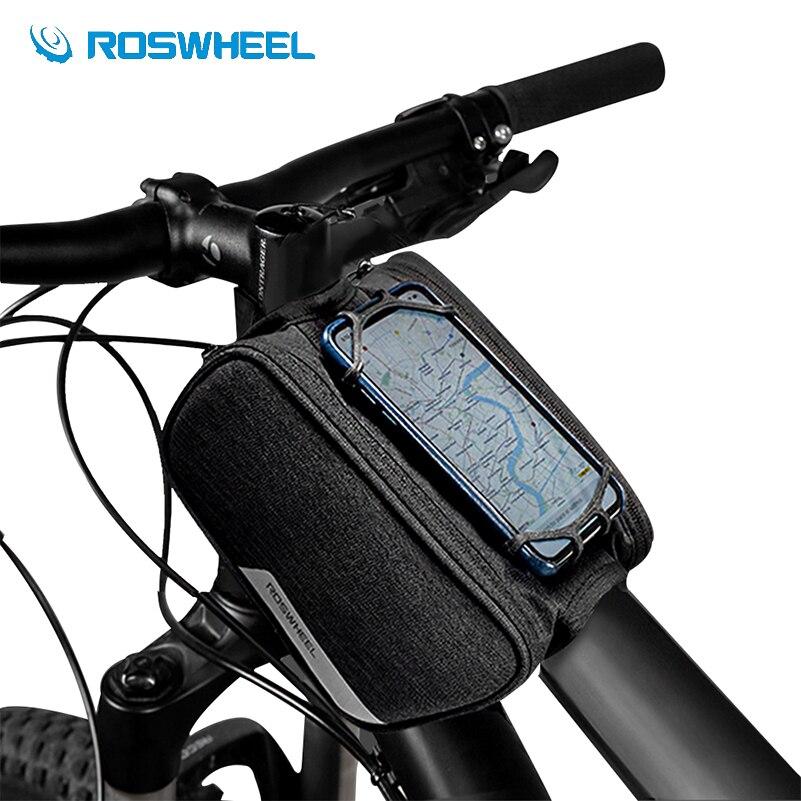 cb3dfdcc96d Bolsas de bicicleta impermeables ROSWHEEL con soporte de teléfono para  ciclismo Panniers bolsa de tubo frontal 1.5L 300D bolsas de bicicleta de  carretera ...