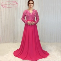SuperKimJo 2018 Real Photo Long Sleeve Prom Dresses Formal Gowns Peals Hot Pink A Line Prom Gown Vestido De Festa