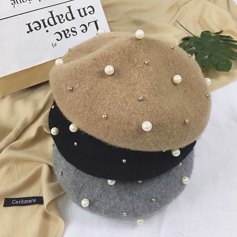 Sonderabschnitt Perle Wolle Baskenmütze Hut Frauen 2018 Frühling Sommer Neue Heiße Mode Weibliche Einfarbig Elegant Lässige Caps Baretthüte Bekleidung Zubehör