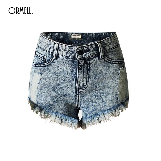 Free shipping 2016 New Summer Hot Women's High Waist Denim Shorts European Style Ripped Short Jeans Fashion