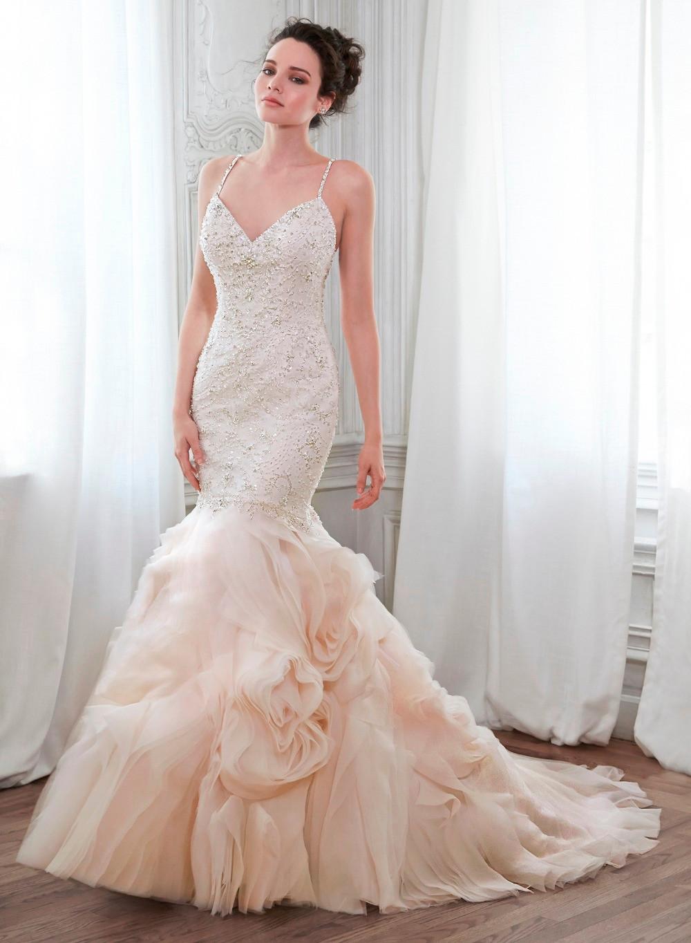 Spaghetti Strap Luxury Sequin Beaded Mermaid Wedding Dresses Tulle ...