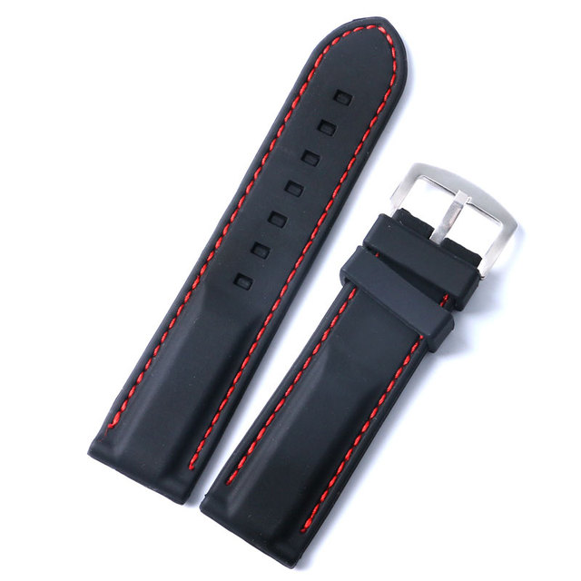 679b6e2c5eb 10 Pcs 22mm 24mm Black Soft Silicone Watch Strap Band Red Line Stitching  Wrist Band Stainless Steel Pin Buckle Rubber Wholesale