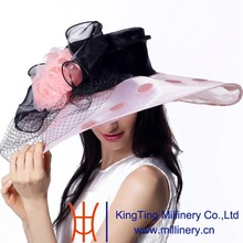 June'syoung 2015 Summer New Fashion Organza Hats 100% Organza Wide Brim Pink and Black Colors Wedding Dress Wear Lady Party Hats