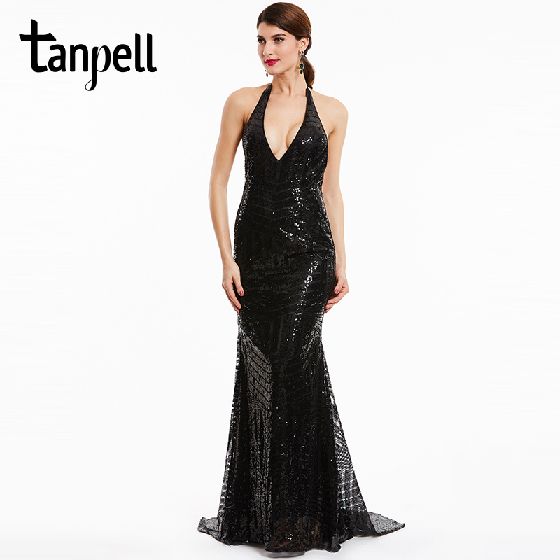 Tanpell backless evening dresses black halter sleeveless sweep train mermaid gown women sequins party formal long evening dress