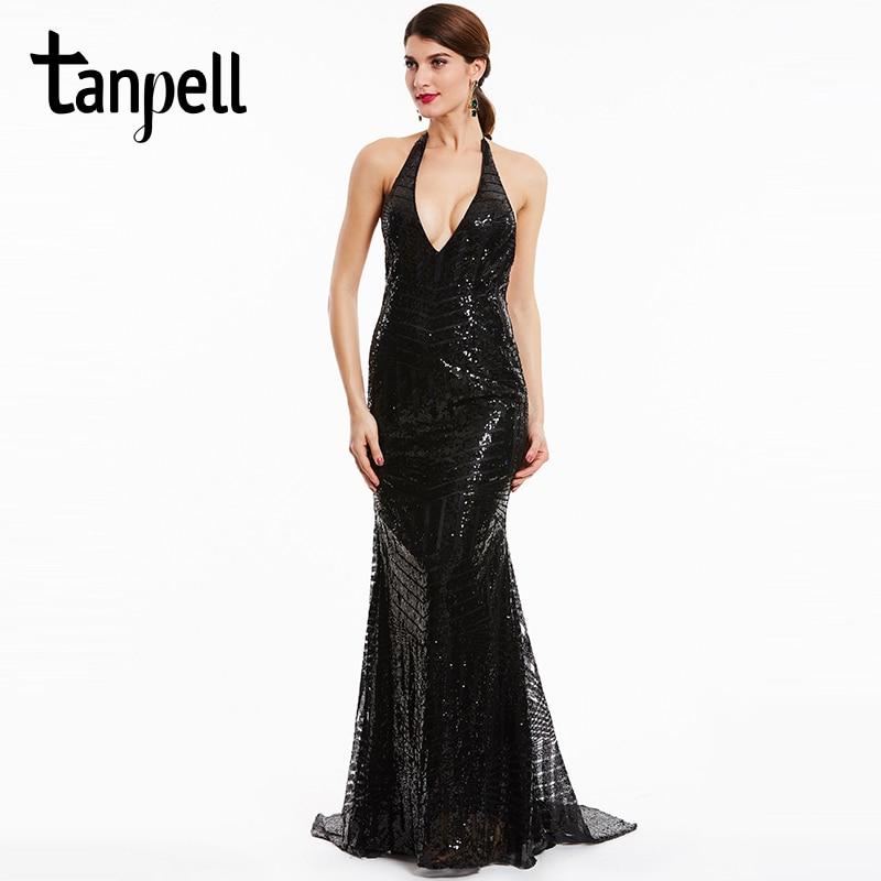 0f0c5dc9b Tanpell backless vestidos de noche Halter negro sin mangas de tren de  barrido sirena vestido de lentejuelas largo formal del vestido en Vestidos  de noche de ...