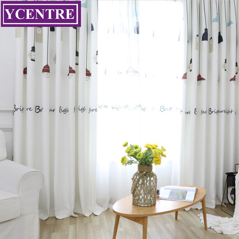 US $12.51 47% OFF|YCENTRE Lamp Pattern Design Printed Curtains for Living  Room Decorative Modern Curtains for the Bedroom Window Curtain Drapes-in ...