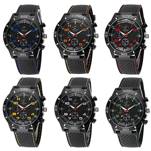 Casual Outdoor Mens Sports Watches Silicone Band Stainless Steel Analog Quartz Wrist Watch Clock NO181 5V6C